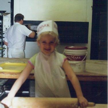 Steve's daughter, Lisa, making cookies at the bakery